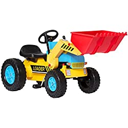 Best Choice Products Kids PedalExcavator, Digger Scooter, Front Loader Pretend Play Construction Truck Toy - Multicolor