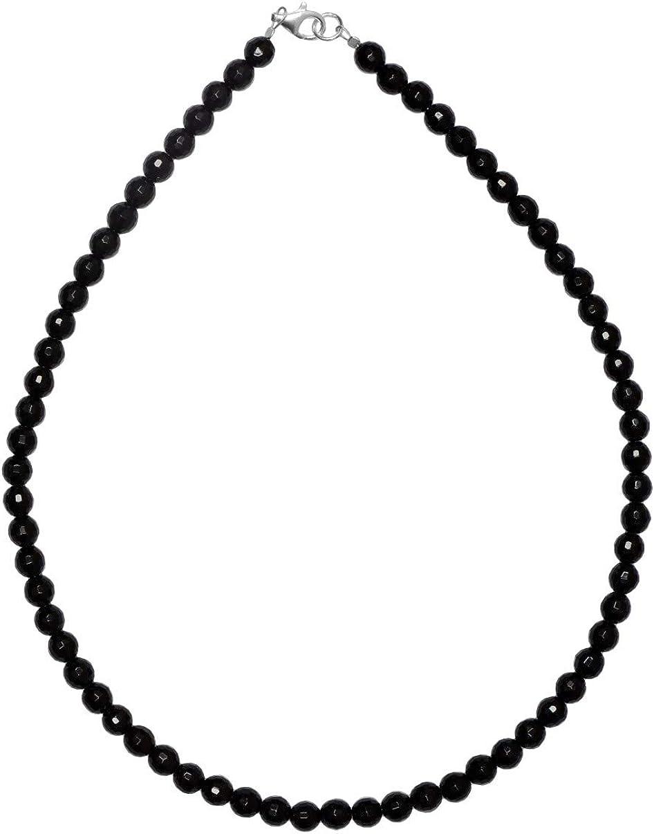 ERCE ónix/onyx piedra semipreciosa collar, cierre de plata de ley 925, longitud 42 cm