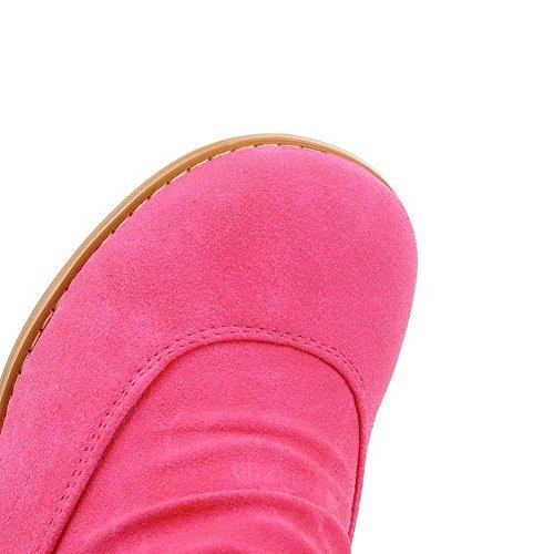 AllhqFashion Mujeres Sin cordones Tacón Medio Gamuza(Imitado) Sólido Caña Media Botas Rosa
