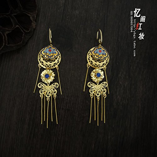 - TKHNE Bluing custom complex classical copper earrings tassel earrings earrings Chinese clothing Ming system Qing Dynasty princess empress antique earrings