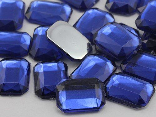 Octagon Jewels (25x18mm Royal Blue JG33 Flat Back Octagon Acrylic Jewels High Quality Pro Grade - 15 Pieces)