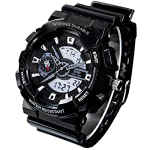 New Unisex Fashion Sport Watch Analog/Digital Water Resist Dual Time Multifunction Alarm Led Womens Mens Wristwatch 6 Colours Option (Black01)