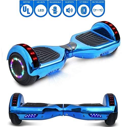 NHT Chrome Edition Self Balancing Hoverboard Scooter with LED Lights and Speaker UL2272 Certified (Chrome -