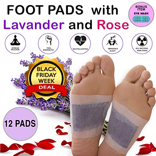 Aromatherapy Bamboo Vinegar Foot Pads - Natural & Organic Ingredients - FDA Approved Upgraded Version 2 in 1 Adhesive Detox Patch (12)