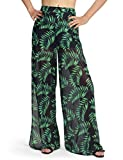 Dimildm Wide Leg Pants for Women, Sexy Summer Printed Mesh High Waisted Lined Split Vacation Palazzo Pants Green X-Large