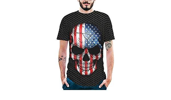 Dream_mimi Mens Splash-Ink 3D Printed Tee Skull Shirt Short Sleeve T-Shirt Blouse Tops for Man Black at Amazon Mens Clothing store: