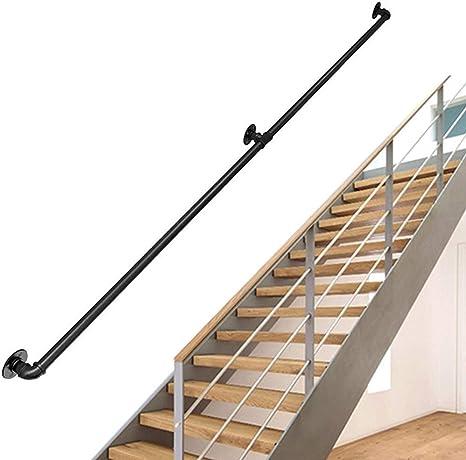 Kit completo barandilla escalera industrial redonda | Pasamanos escalera para personas mayores Barandilla Barandilla para el hogar Interior al aire libre Corredor Loft | Barandilla Barandilla Hierro: Amazon.es: Deportes y aire libre