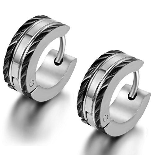 Flongo Men's Punk Stainless Steel Black Polished Matte Charm Elegant Stud Hoop Huggie Earrings