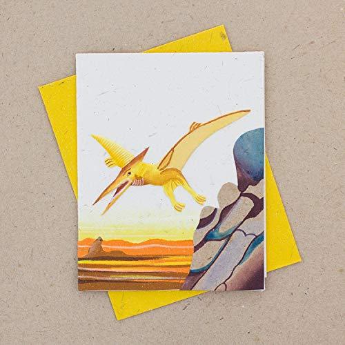 (Mr. Ellie Pooh Poo Paper Single Greeting Card, Sketched Pterodactyl White (290-814959023207))