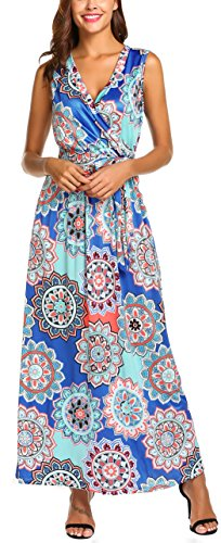 SimpleFun Women Sleeveless Maxi Dress Casual Long Dresses Beach Dresses Bohemian Floral Printed Vacation Dresses(Blue,M)