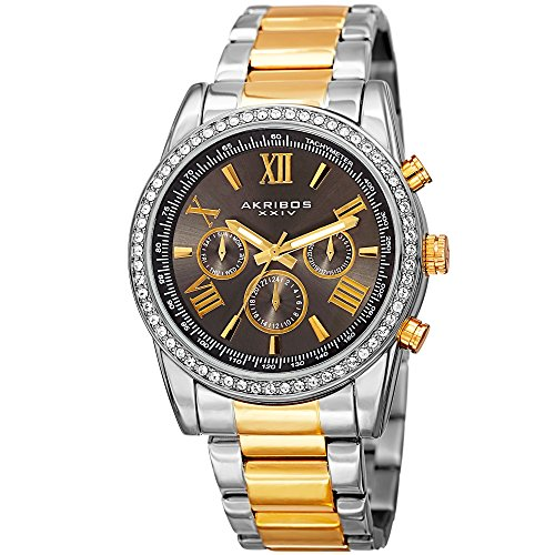 (Father's Day Gift! - Akribos Multi-Function Swarovski Crystal Accented Steel Bracelet Watch - Three Hand Movement with Two Time Zones and Date Complication - Men's Ultimate Swiss Watch - - Gold Silver)