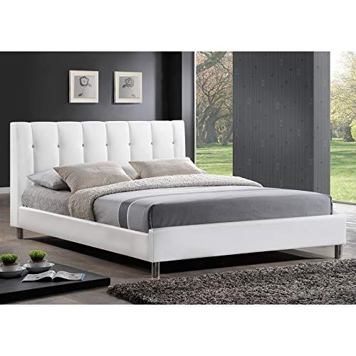 (Baxton Studio Vino Modern Bed with Upholstered Headboard, Queen,)
