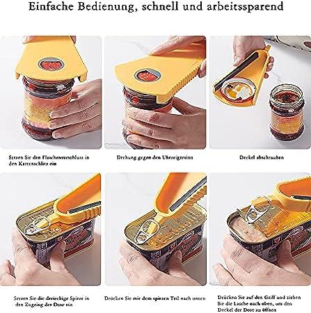Abrebotellas multifunción antideslizante y ahorra trabajo, utilizado para todo tipo de botellas y latas, abrebotellas con tapón de rosca, herramienta de cocina multiusos (amarillo)