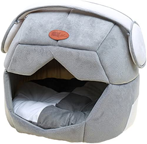 Petsidea Soft Space Dog Bed House Kennels with Removable Cushion Inside, Cute Warm Bed Cave for Small Dogs Cats