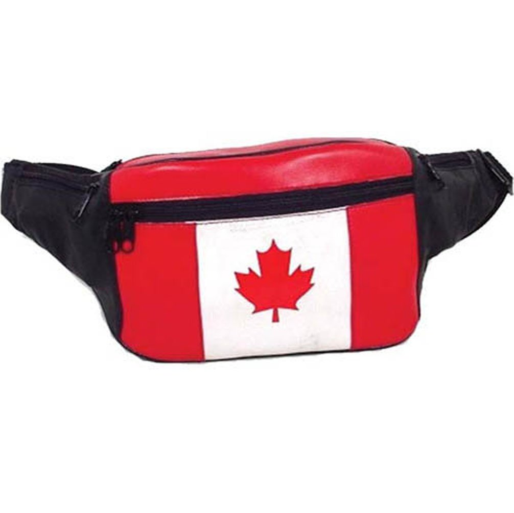 New Genuine Leather Canada Flag Waist Bag Fanny Pack with Adjustable Strap by Marshal