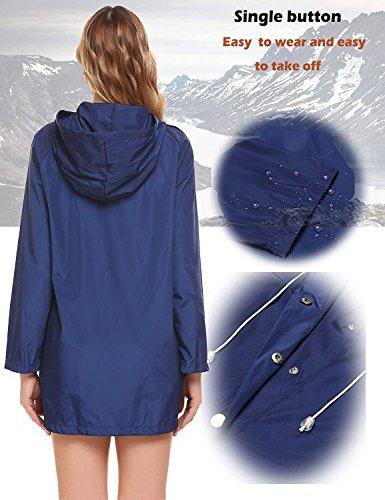 FISOUL Womens Raincoats Waterproof Lightweight Hooded Active Outdoor Rain Jacket by FISOUL (Image #3)