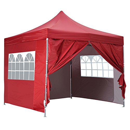 10×10 Ft Outdoor Pop Up Canopy Tent With 4 Removable Side Walls Instant Gazebos Shelters Red
