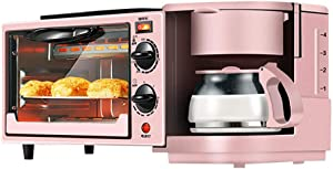 Toaster Family Multifunction Electric Toaster Machine 3 in 1 Stainless Steel Oven Coffee Maker with Kettle Egg Griddle Nonstick Pot 650W(Pink)