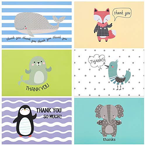 D-FantiX Baby Thank You Cards, 48 Cute Animal Thank You Note Cards Bulk for Baby Shower, Kids - 6 Designs Blank Inside with 48 White Envelopes and Stickers, 4x6 Inches ()