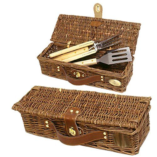 3 Pc BBQ Set w Wood Handles and Basket - Willow by Picnic & Beyond