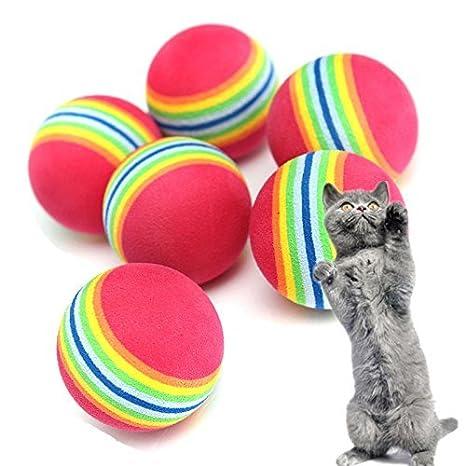 Nikgic - 10 pelotas de gato de 3,5 cm de espuma suave juguetes de animales arcoíris pelotas pequeñas para mascotas pelota de espuma suave para gato: ...