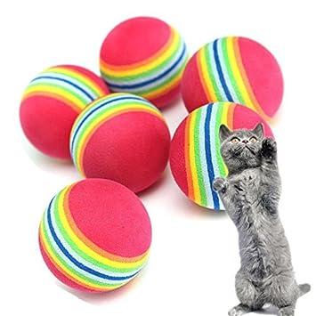 Nikgic 10 pcs 3.5 cm Colorful Ball Jouets Doux Mousse Arc-En-Animal Jouets Petites Boules Pet Jouet Balle en Mousse Souple pour Chat arc-en-ciel Chaton Activité Chase Play Multicolore