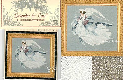 Lavender & Lace Cross Stitch Chart with Mill Hill Bead Set ~ ANGEL OF WINTER #33 - Lavender And Lace Cross Stitch