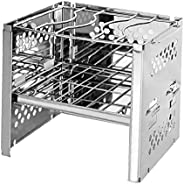 Folding Campfire Grill Stainless Steel Camping Fire Pit Heavy Duty Portable Outdoor Camping Grill Grate Silver
