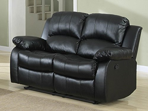 Homelegance Double Reclining Loveseat, Black Bonded Leather