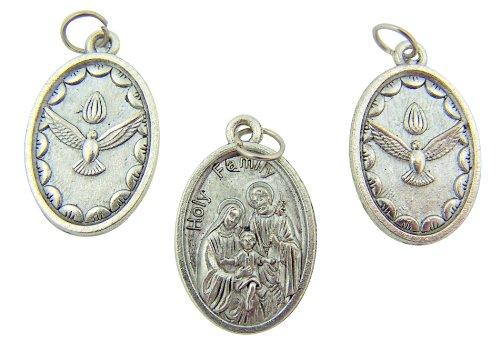 Lot of 3 Catholic Keepsake Gift The Holy Family Virgin Mary Saint Joseph Jesus Christ with Holy Spirit Dove Medal Charm Pendant (Family Pendant Holy)