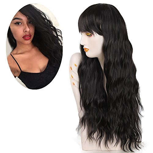 (netgo Women's Black Wig Long Kinky Curly Wavy Hair Black Wigs for Girl Heat Friendly Synthetic Party Cosplay)