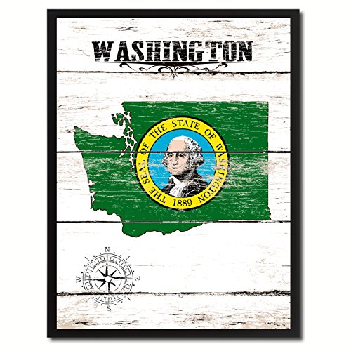 Washington State Vintage Flag Canvas Print Black Picture Frame Gift Ideas Home Decor Wall Art Decoration Gift Ideas (State Washington Pictures)