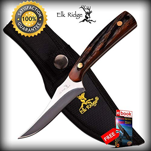 Pearl Genuine Fender - FIXED BLADE SHARP KNIFE Elk Ridge Genuine Bone Handle Hunting Skinning Game ER-299BN Combat Tactical Knife + eBOOK by Moon Knives