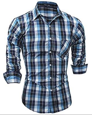 YUNY Men Plaid Casual Slim Fit Long Sleeve Button Down Dress Shirts