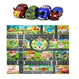 Eyours Car Road Play Mat 52x39.4' and 4 Sets of Mini Construction Cartoon Cars, Gift for Boys,...