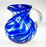 Mexican Glass Margarita or Juice Pitcher, Blue Swirl Design, Bola or Bowl Shape Design, 4 quarts