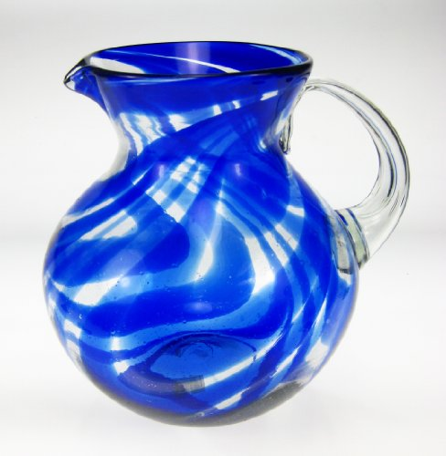 Mexican Glass Margarita or Juice Pitcher, Blue Swirl Design, Bola or Bowl Shape Design, 4 quarts by Mexican Glass (Image #2)