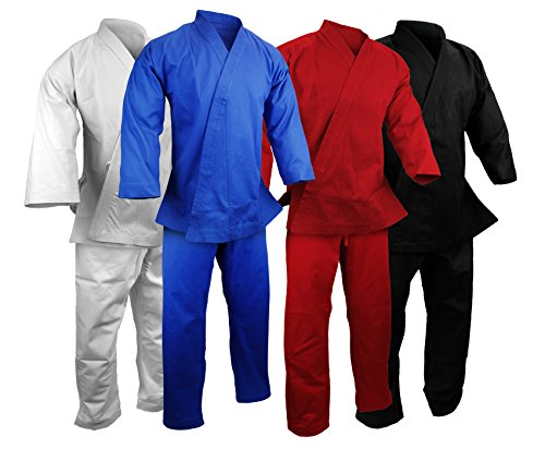 (PROWIN1 12 Oz Heavyweight Cotton Karate Uniform Martial Arts Gi - White/Black/Blue/Red (White,)
