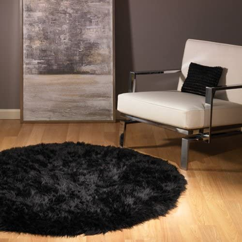 Walk on Me Round Faux Fur Sheepskin Flokati Rug – New Made in France Black