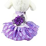 Sumen Small Dog Dress Lace Wedding Party Princess Dress Pet Apparel (S, Purple)