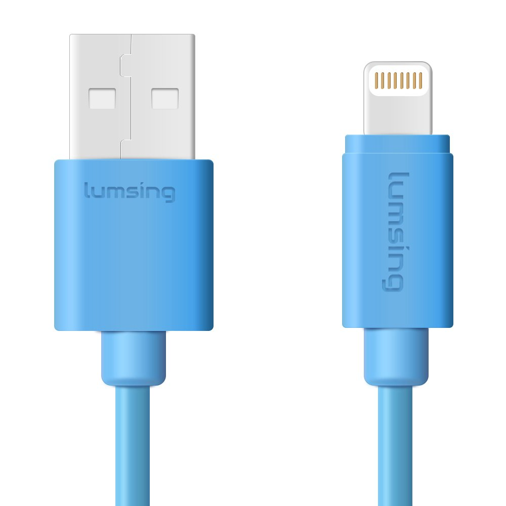 Lumsing Lightning to USB Cable Apple Certified Sync and Charging Cord(3.3 Feet/1M) with Ultra Compact Connector Head for iPhone, iPod and iPad(Blue) by Lumsing (Image #1)