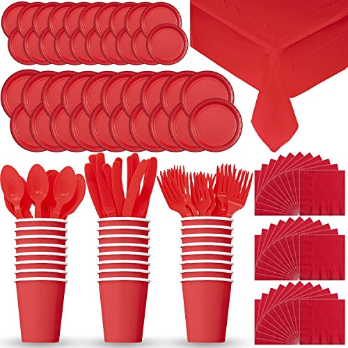 Disposable Paper Dinnerware for 24 - Red - 2 Size plates, Cups, Napkins , Cutlery (Spoons, Forks, Knives), and tablecovers - Full Party Supply Pack