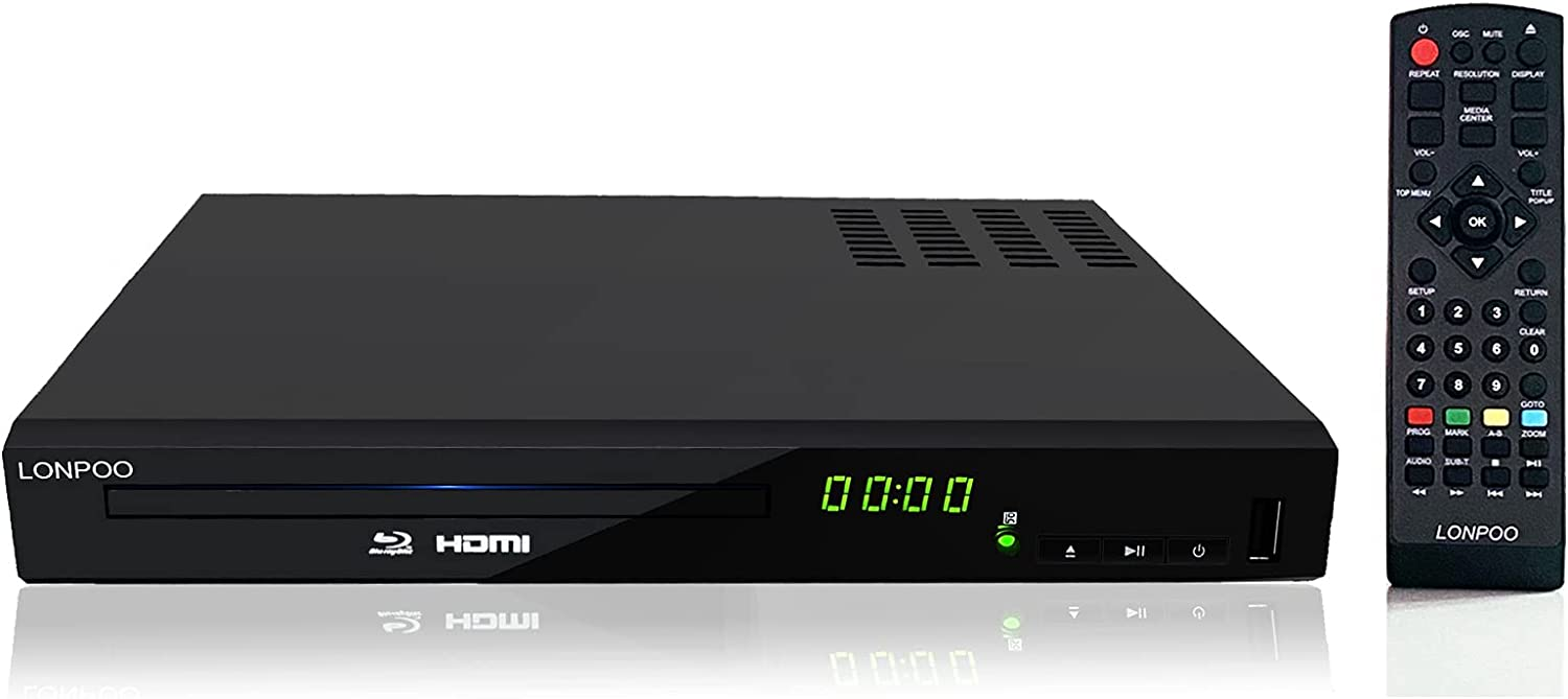 Blu-Ray DVD Player for TV, LONPOO 1080P Home Theater CD DVD Blue Ray Player, Multi-Region Support, Built-in PAL/NTSC with HDMI /AV Cable