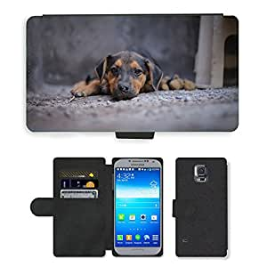 Super Stella Cell Phone Card Slot PU Leather Wallet Case // M00144948 Dog Pet Animal Animals Look Puppy // Samsung Galaxy S5 S V SV i9600 (Not Fits S5 ACTIVE)
