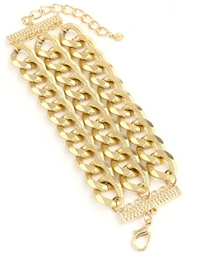 {CB0139 StyleNo1} WOMEN'S FASHIONABLE 3-LAYERED CUTTED ALLOY CHAIN BRACELET - Designed In USA (GOLD) (Link Layered)
