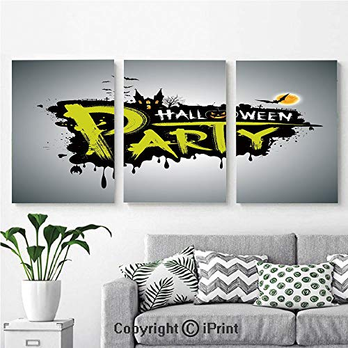 Modern Gallery Wrapped Canvas Print Halloween Party Hand Drawn Brushstrokes Artistic Design Grunge Cartoon 3 Panels Pictures on Canvas Wall Art Ready to Hang for Living Room Kitchen Home Decor,12