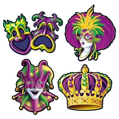 Jester Cut Out - Mardi Gras Cutouts Party Accessory (1 count) (4/Pkg)