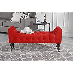 Divano Roma Furniture Classic Tufted Microfiber Footrest/Footstool / Ottoman with Casters (Red)