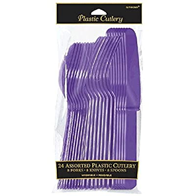 Amscan Party Perfect Reusable Plastic Cutlery Set Tableware, Purple, Full Size, Pack of 24 Party Supplies: Toys & Games