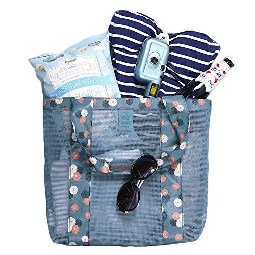 Hombro Mujer Almacenamiento Sol Fortuning's Moda Jds Azul Malla Playa Bolsa De Gafas Bolso FHHZqPw6xS